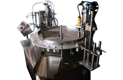 Rotary-Semi-Auto-Free-Flow-Liquid-Filling-Plugging-&-Cap-Sealing-Machines